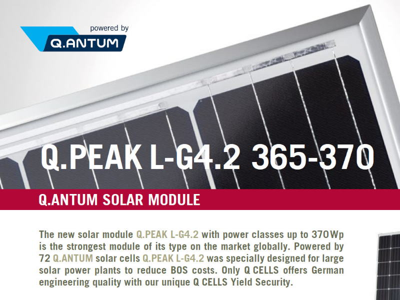 Q Cells Solar Panel data sheet image