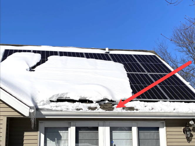 snow on roof with bottom portion removed