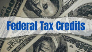 Federal Tax Credit banner with 100 Dollar bills background